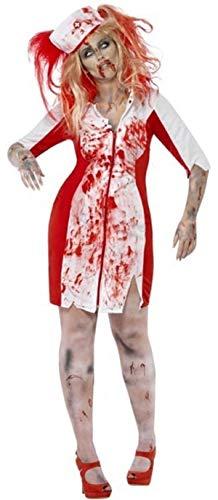 Zombie Krankenschwester Übergröße Kostüm - Fancy Me Damen Übergröße Zombie Krankenschwester Curves Halloween Kostüm Kleid Outfit - Weiß, Weiß, UK 16-18