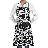 Drempad Delantal Skulls and Bones Doodles Adjustable Apron for Kitchen BBQ Barbecue Cooking - Cooking Apron,Kitchen Apron,BBQ Apron