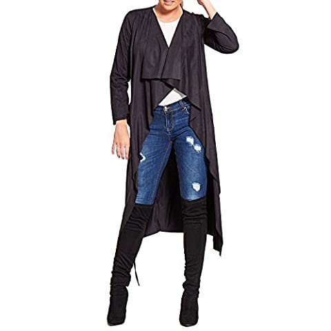 SCO New Womens Soft Touch Faux Suede Jacket Drapped Open Front Waterfall Cardigan (One Size, Black)