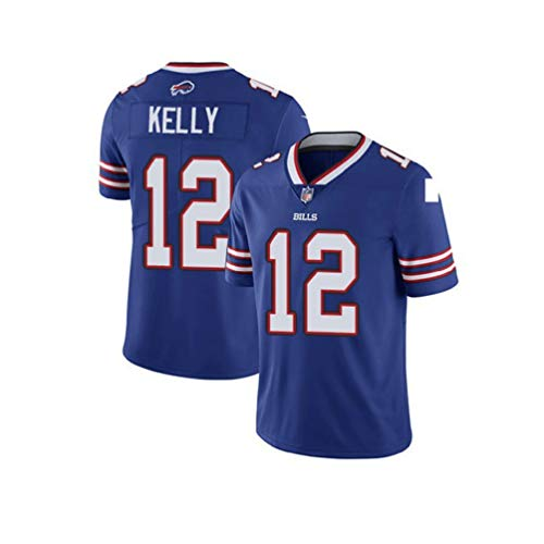 Männer Rugby T-Shirt, Buffalo Bills, Kelly # 12, American Football Sportkleidung, Training Rugby Kleidung (Color : Blue, Size : XXL)