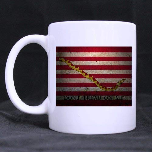 First Navy Jack US Flag Don't tread on me Tea/Coffee/Wine Cup Cup 100% Ceramic 11-Ounce White Mug - First Navy Jack
