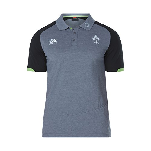 Offizielles IRFU Herren Irland Rugby vapodri Baumwolle Pique Polo Shirt Asphalt Marl
