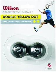 Wilson WRT617600, Pelota de Squash Extralenta para Competición, Staff Premium Double Yellow Dot, Doble Punto Amarillo, Negro, Talla Única, Pack de 2