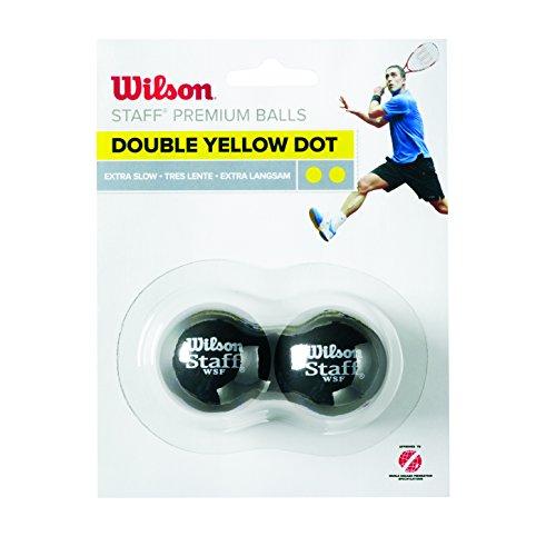 Wilson Balle de squash Intérieur, Compétitons , 2 Balles, Staff Squash, Double point jaune, Noir, WRT617600