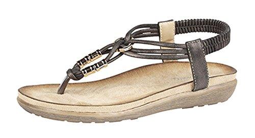 Damen Zehensteg Mule Sandale mit Komfort-Innensohle Black Metallic