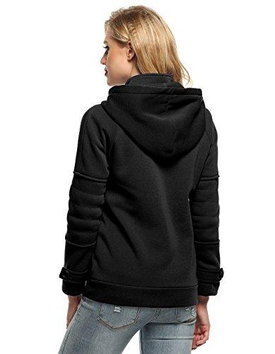 MEXI Frauen Mode Langärmeliger Reißverschluss Feste Kapuzenjacke aus Fleece S-XXL Stil 05-Schwarz