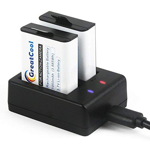 GreatCool Action Cam Batteria Ricaricabile 2 1050 mAh con Doppio USB Caricabatteria per Xiaomi YI/Apeman/SJCAM/WiMiUS/Campark/Victure/DBPOWER/Crosstour/Jeemak Sportiva Fotocamera etc