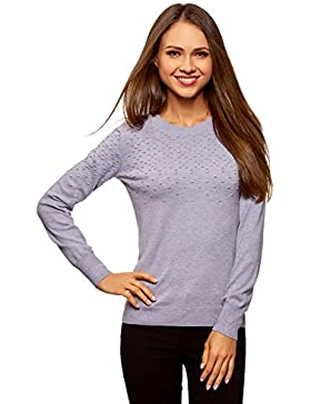 oodji Ultra Mujer Jersey Texturizado con Cuello Redondeado