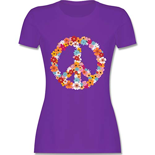 Statement Shirts - Peace Flower Power - M - Lila - L191 - Damen Tshirt und Frauen T-Shirt - Lila Blume Shirt