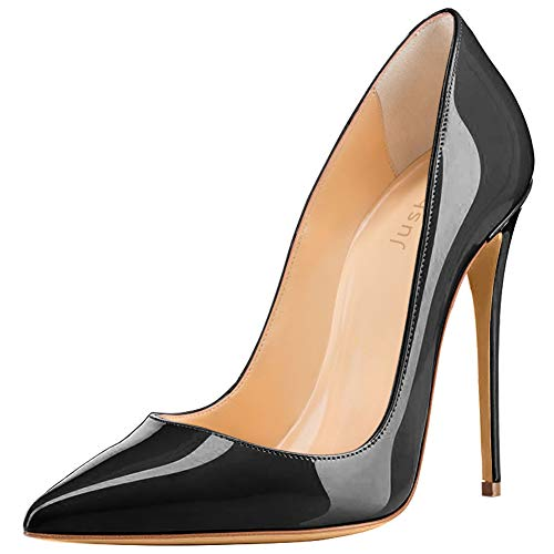 Jushee Court Shoes Womens Ladies Patent High Heels Stiletto Pointed Toe School Dress Wedding Party Pumps