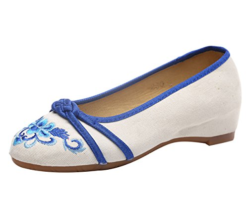 Ricamo Mano Caviglia Lacci Blu Della Fiore Basse Dell'involucro Insun A Scarpe Con Ballerine Donna Realizzate 7xqxwXH64f
