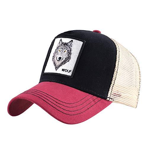 Preisvergleich Produktbild sdssup Vintage Baumwolle Bestickt Tier Baseball Cap Net Hut Cap Truck Driver Cap Chicken Wolf - rot 2 einstellbar