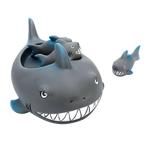12shage Baby Badespielzeug Dusche Badewanne Spielzeug Niedlicher Hai Schrilling Gummitier Bad Spielzeug Set für Kinder -