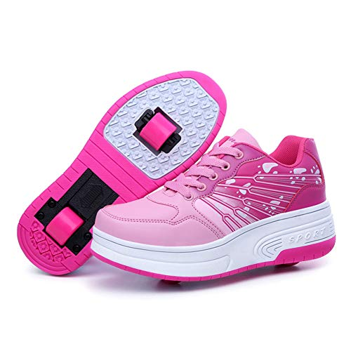 Homesave Skateboardschuhe Kinderschuhe mit Rollen Jungen Mädchen LED Skate Schuhe Roller Skate Shoes Schuhe Sneaker Sportschuhe mit Rollen,PinkDouble,35EU