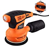 Orbital Sander, Tacklife 280W 125MM Sander Machine with 360°Rotating Sanding Base Plate, Dust