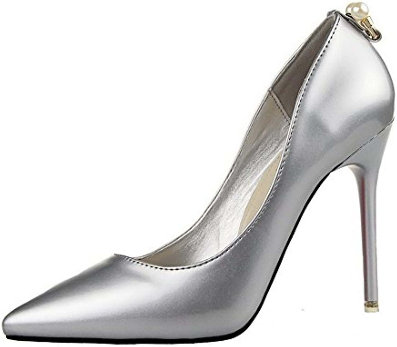 AllhqFashion Damen Pu Ziehen auf Spitz Zehe Hoher Absatz Rein Pumps Schuhe Silber 35