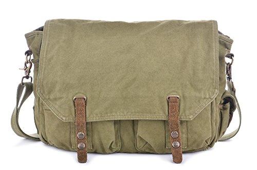 Gootium Sac à bandoulière en toile sac à bandoulière Vintage pour hommes Satchel Bag, Fit Laptop jusqu'à 15,6 pouces, Vert armée