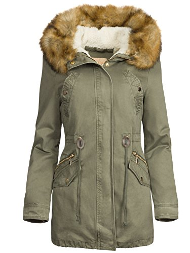 3 in 1 DAMEN WINTERJACKE BAUMWOLLE TEDDY FELL MILITARY STYLE COTTON PARKA MANTEL, Größe:L, Farbe:Olive