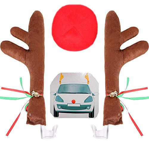 DANSPEED 43 cm Groß Weihnachten Autodekoration Rote Nase von Rentiergeweihen Fahrradzubehör Windows Dachfahrzeugzubehör mit Jingle Bells