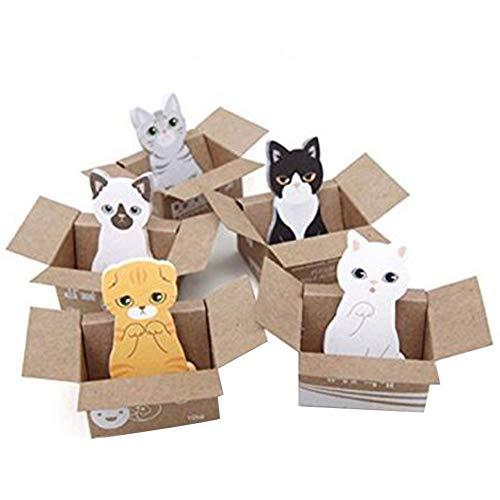 JER 2ST nette Katze in Box Post it Notes Haftnotizen Pads Lesezeichen Stationary Aufkleber Notizblock Tab kreative Briefpapier zufällige Farbe Bürobedarf
