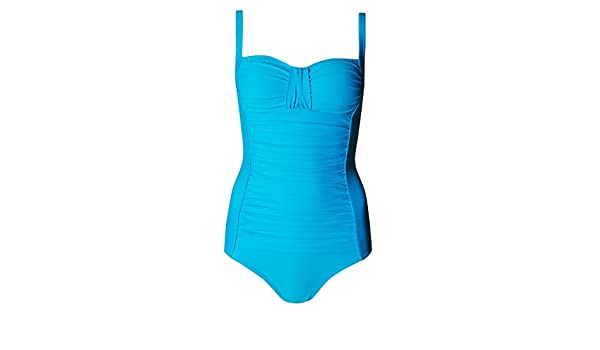 661179876b3ac Marks & Spencer Secret Slimming Turquoise & Pink Ruched Swimsuit 2870 Tummy  Control M&S Swimming Costume (10 Pink): Amazon.co.uk: Clothing