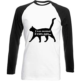 Hippowarehouse I was Normal 3 Cats ago Unisex Long Sleeve Baseball Two Tone t-Shirt