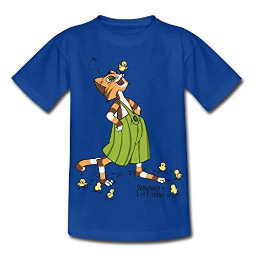 Küken Mädchen T-shirt (Spreadshirt Pettersson Und Findus Spielt Mit Süßen Küken Kinder T-Shirt, 110/116 (5-6 Jahre), Royalblau)