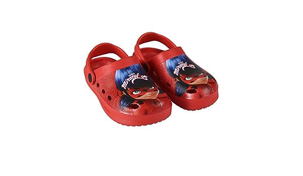 takestop/® Ciabatte Pantofole Miraculous LADYBAG Lady Bug Calde Foderate Antiscivolo COMODE Poliestere CASA Bambini Bambine Blu Rosso Invernali Cartone Animato