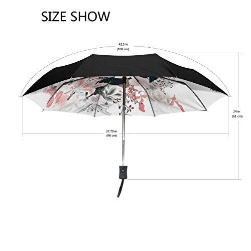 Bennigiry aquarelle roses Ancre coupe-vent et étanche Voyage Compact Parapluie - Auto ouvrir fermer Parapluie pliable robuste et léger facile à transporter Parasol pour homme femme Taille unique Color#002