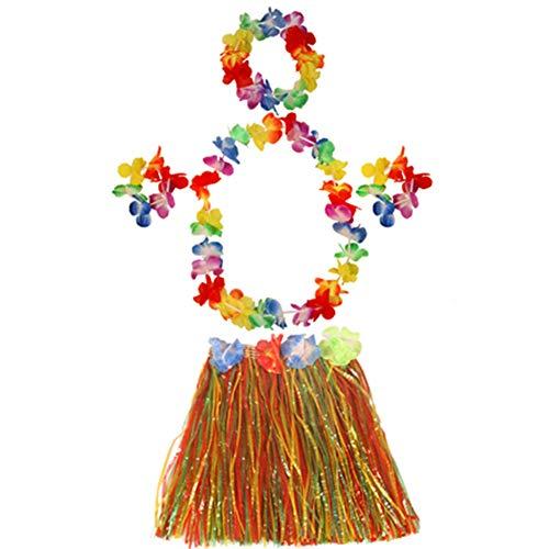 Kostüm Thema Strand Partei - 1 Satz Streaming Baströckchen 40cm Lange Hawaii Hula Baströckchen Für Erwachsene Und Kinder Hawaii-Partei-Kostüm Bunte