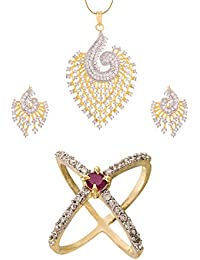 Zeneme American Diamond Peacock Design Party Wear Pendant Set & Ring Jewellery For Women & Girls