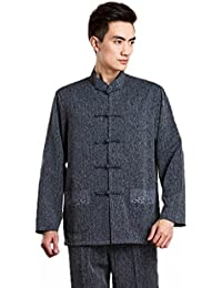 JTC Mens Cotton Linen Long Sleeve Traditional Chinese Jacket Kung Fu Tai Chi Top Dark Grey