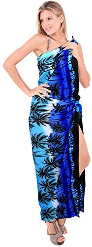 La Leela plus size bikini costumi da bagno costume da bagno sarong vestito beachwear femminile coprire involucro Blu