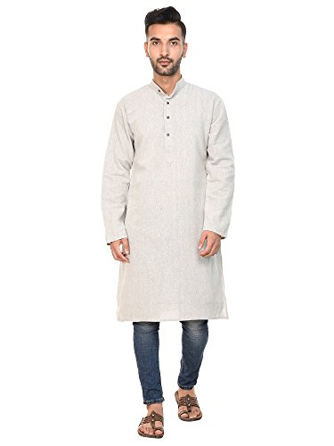 SKAVIJ Mens Shirt Kurta Long Sleeve Casual Button Down Cotton Long Kurta Dress