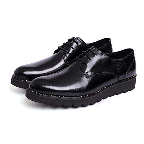 GRRONG Herren Lederschuh Formelle Kleidung Freizeit Geschäft Schwarz Und Rot Black QqxxhOiBIs