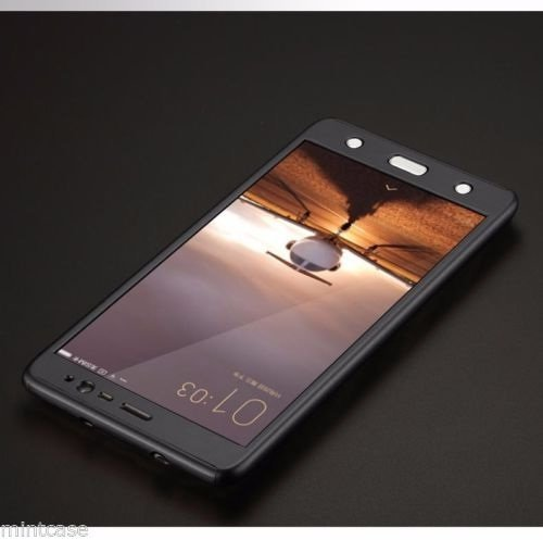 new style b1745 7d49d 360 Degree Protection Front & Back Case Cover for Redmi Note 4 with  Tempered Glass - BLACK