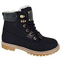 WOMENS LADIES FLAT FUR LINED GRIP SOLE WINTER ARMY COMBAT ANKLE BOOTS SHOES BLACK 3 SIZE 5 UK