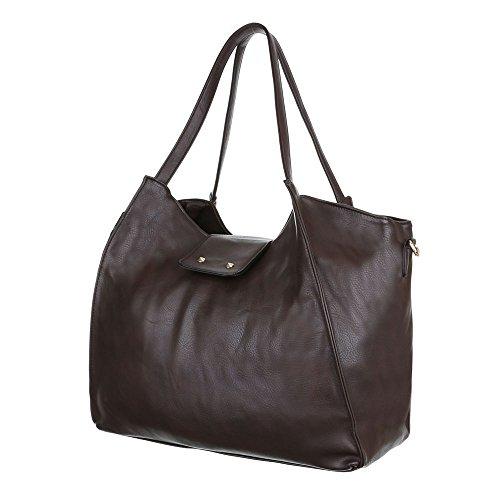Damen Tasche, Schultertasche, Mittelgroße Handtasche, Kunstleder, TA-J827 Braun