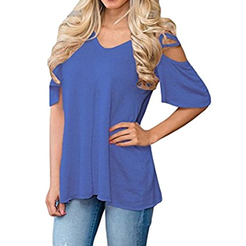 Yeesea Damen Schulterfrei Oberteil Loose Kurzarm Hemd Top Cold Shoulder Cut Out Bluse T-shirt Blau