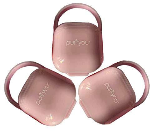 purifyou PurePouch Schnullerkoffer, Nipple Shield Tragetasche & Schnullerhalter Box   BPA-frei, ungiftig, tragbar   3er-Set mit freiem Netzbeutel (3er-Set, Klares Rosa)
