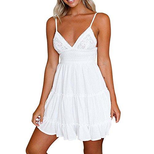kleider Kleidung Damen DAY.LIN Frauen Sommer Backless Mini Kleid Weiß Abend Party Strand Kleider Sommerkleid Damen Sling Sexy Halter Bow Spitze Panel Dress (M=EUS)