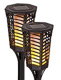 LED Solar Fackelleuchte 2er Set   Gartenleuchte mit fazinieredem Flammeneffekt   Kabellos mit Tageslichtsensor für automatisches Ein- und Ausschalten