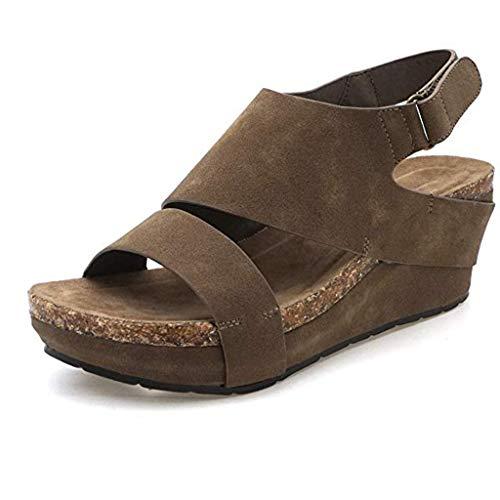 ✿Eaylis Damen Sandalen Retro-Volltonfarbe Mit Wasserdichter Plattform Sommer Strand Schuhe Hausschuhe Stilvoll und elegant