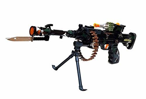 Militär Army Gun Pistole Gewehr Spielzeuggewehr Kostüm mit Standfuß LED Licht Sound (Kinder Militär Kostüme)