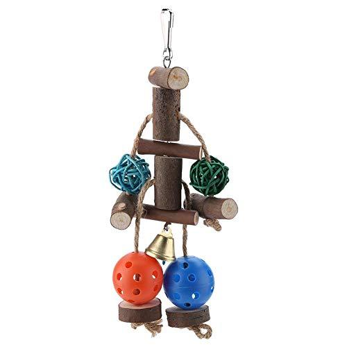 Blocchi pappagallo Blocchi Masticare Giocattoli di legno Pet Bird Cage Hammock Altalena Giocattolo Foro colorato Balls Rattan Balls String Hanging Bell il benessere psicologico fisico dei tuoi pap