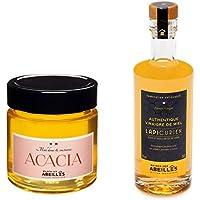 Duo gastronomique: 1 pot de Miel d'acacia et 1 bouteille de Vinaigre de Miel. Production 100% France.
