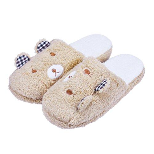 Chaussons Winter Plush Slippers, Amlaiworld Bel ours Chaussures de sol à la maison Pantoufles en coton Chaussons