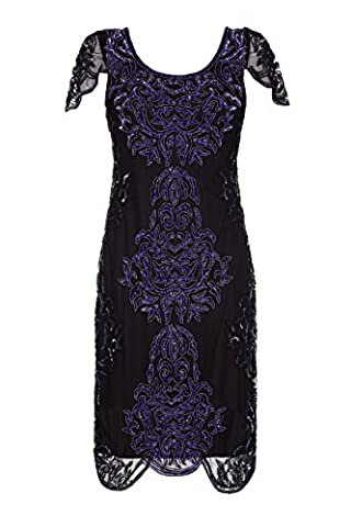 Gatsbylady Alice 1920's Vintage Inspired Flapper Dress in Black Purple (US26 UK