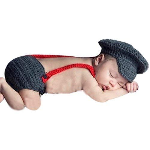 Pilot Kostüm Baby Mädchen - Piloten-Kostüm für Neugeborene, Häkelware, Pilotenhut zum Fotomachen, für Jungen und Mädchen