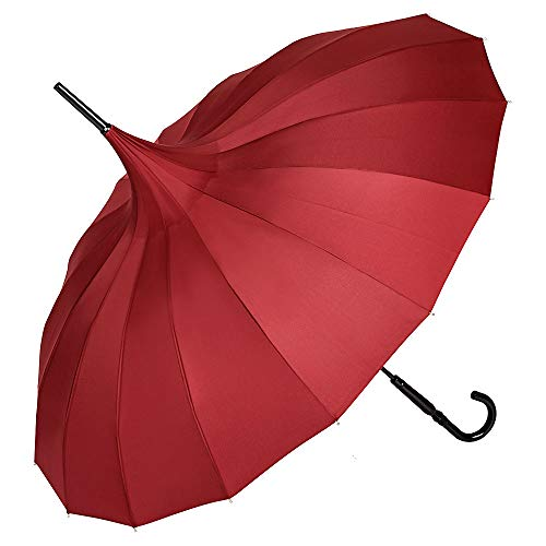 VON LILIENFELD Regenschirm Damen Sonnenschirm Pagode Charlotte Bordeaux Burgunder